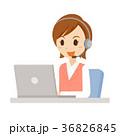 オペレーター ノートパソコン ヘッドセットのイラスト 36826845