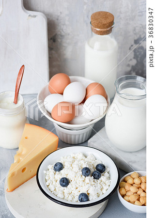 Fresh Organic Dairy Products On Concreteの写真素材 [36830347] - PIXTA