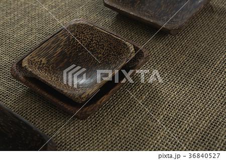 Wooden bowls on textileの写真素材 [36840527] - PIXTA