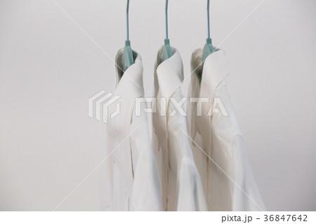 Close-up of shirts hanging on hangerの写真素材 [36847642] - PIXTA