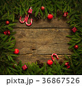 Christmas border with fir tree branches 36867526