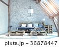 attic living room interior 36878447