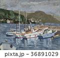 油絵 下多賀 港のイラスト 36891029