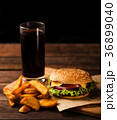 Hamburger, french fries and cola drink 36899040