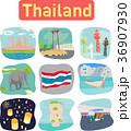 Thailand landmark objects icons label 36907930