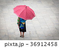 hmong girl with big red umbrella in Sa Pa 36912458