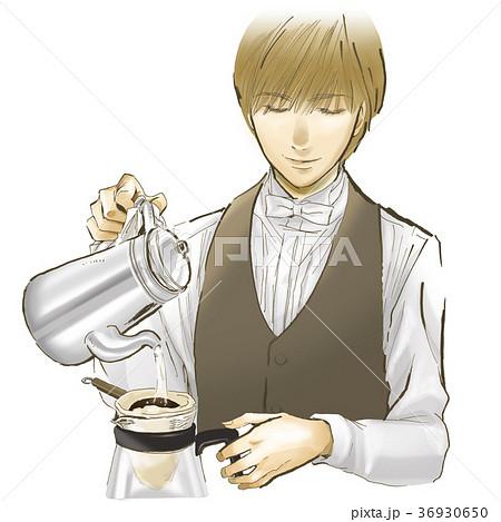 コーヒーマスター バリスタのイラスト素材 36930650 Pixta
