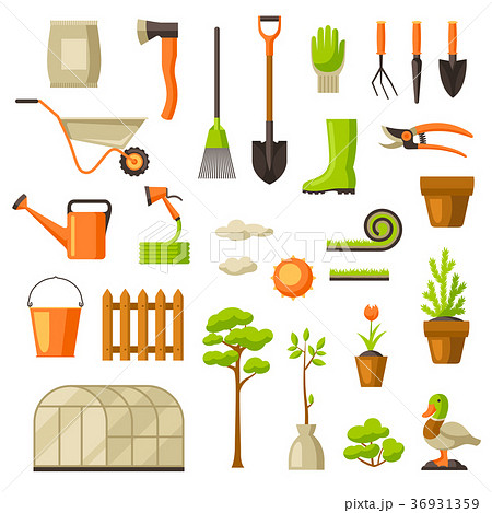 Set of garden tools and items. Season gardening 36931359