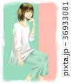 女の子 笑顔 ポーズのイラスト 36933081
