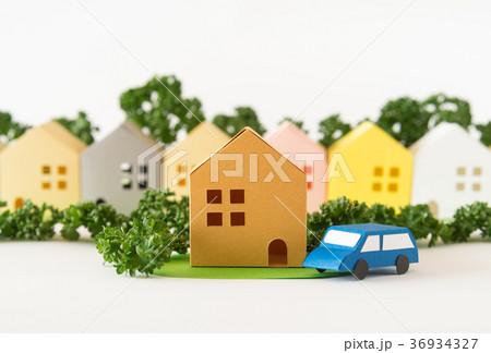 緑の多い街 コミュニティ 町並み 住宅地 不動産 模型 ペーパークラフト 36934327