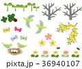 春の素材。カレンダー素材。季節のアイコン素材集。 36940107