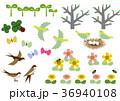 春の素材。カレンダー素材。季節のアイコン素材集。 36940108