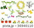 春の素材。カレンダー素材。季節のアイコン素材集。 36940110