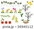 春の素材。カレンダー素材。季節のアイコン素材集。 36940112