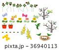 春の素材。カレンダー素材。季節のアイコン素材集。 36940113