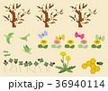 春 ミツバチ ちょうちょのイラスト 36940114