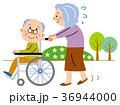 車椅子 老老介護 シニアのイラスト 36944000