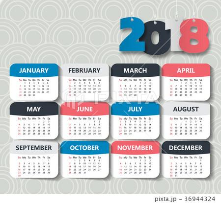 2018 Modern calendar template .Vector/illustration 36944324