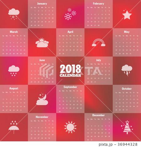 2018 Modern calendar template .Vector/illustration 36944328