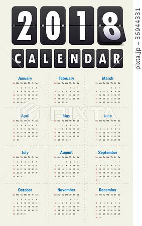 2018 Modern calendar template .Vector/illustration 36944331