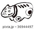 赤べこ 水彩画 36944497