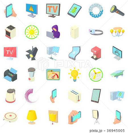 Electricity indicator icons set, cartoon style 36945005