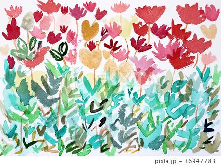 抽象的なチューリップ畑ハート型お花ボタニカル水彩 36947783
