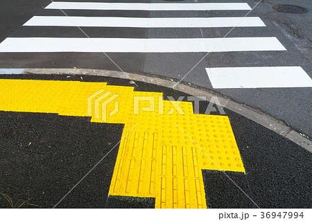 横断歩道と点字ブロック(視覚障害者誘導用ブロック) 36947994