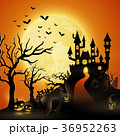 Cartoon halloween background with castle 36952263