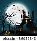 Cartoon halloween background with castle 36952843