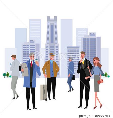 ビル群 働く人々 イラスト 36955763