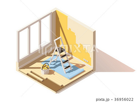 Vector isometric low poly home renovation icon 36956022