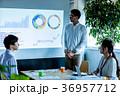 オフィス ビジネス 打合せ プロジェクター スクリーン 36957712