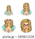 Vector girl showing breast in bra, pop art avatars 36961328