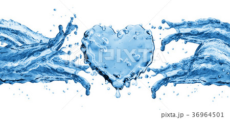 Water splash in the form of a heart. 36964501