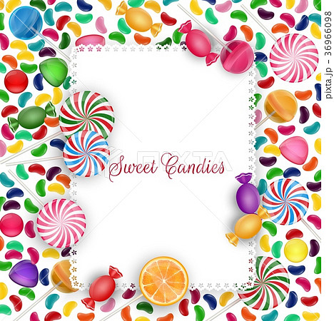colorful candy background with jelly beans lolipoのイラスト素材