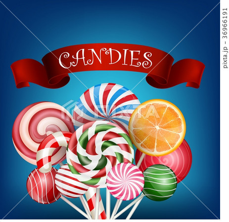 colorful candy background with realistic red ribboのイラスト素材