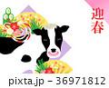 丑 牛 年賀状のイラスト 36971812