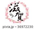滋賀 筆文字 桜 フレーム 36972230