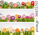 Sweet banner with pine tree, lollipop and orange s 36972707