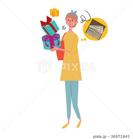プレゼントを買う 女性 イラスト 36972845
