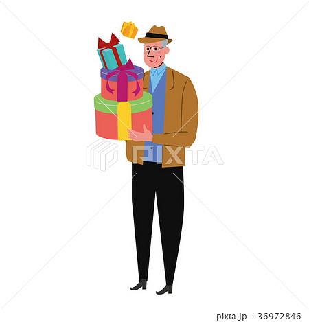 プレゼントを買う中年男性 イラスト 36972846