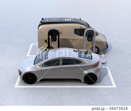 充電スタンドに充電している電気自動車のイメージ 36973629