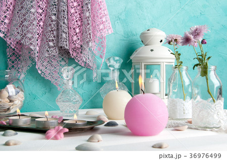 Pink and cream aroma candlesの写真素材 [36976499] - PIXTA