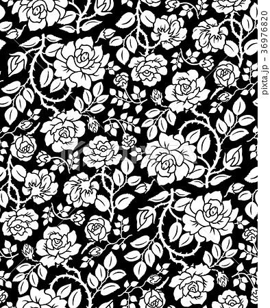 薔薇パターン背景-連続模様-白黒大 36976820