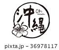 沖縄 筆文字 水彩画 ハイビスカス 36978117