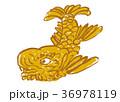 金のしゃちほこ 水彩画 36978119