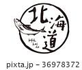 北海道 鮭 筆文字 水彩画 36978372