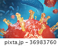 3d Illustration virus, bacteria, cell infected 36983760