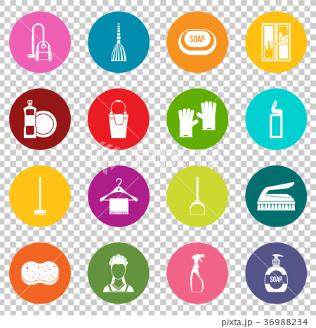 House cleaning icons many colors set 36988234
